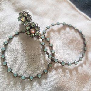 Vintage Earrings Hoop Turquoise